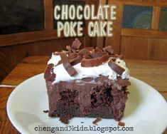 A Homemade Sour Cream Chocolate  Cake with pudding  pokes.....OMG this is good!