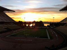 Sun shining behind the ol' Husky Stadium.