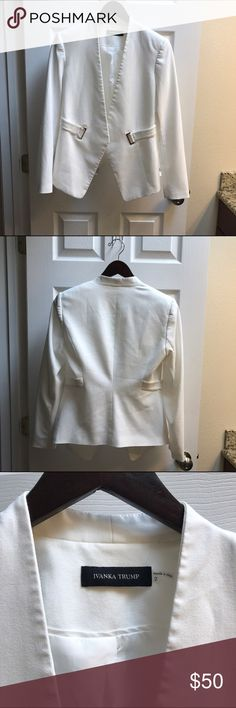 Ivanka Trump Suit Jacket Stunning suit jacket! Beautifully tailored! Fixed belt style with gold toned hardware. Ivanka Trump Jackets & Coats Blazers