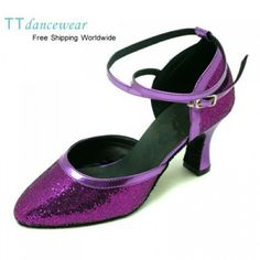 Purple sparkle ballroom dance shoes