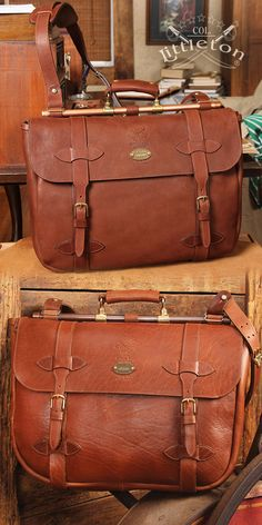 """Col. Littleton No. 83 Leather Book Bag. I was inspired to make a leather laptop bag with a nod to an old military briefcase in my collection. The bag can be used as a traditional brief bag; however, I designed it big enough to accommodate your laptop, all your laptop paraphernalia, iPad® and all that other """"stuff"""" you haul around. Made in our Workshop of polished brown leather or also available in American Buffalo. ... #Mens #Fashion #MensFashion #Accessories #Ties #Socks #Jewelry"""