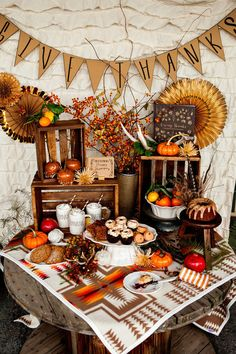 Thanksgiving Dessert Buffet by The Pink Tumbleweed — Crates and Pallet Outdoor Thanksgiving, Thanksgiving Table Settings, Thanksgiving Desserts, Thanksgiving Crafts, Thanksgiving Decorations, Holiday Decorations, Seasonal Decor, Buffet Table Settings, Dessert Buffet