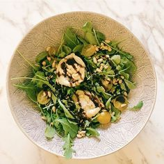 Simple salad of leaves, yellow tomatoes, pine nuts and goats cheese , as always with a balsamic glaze!!      #recipes