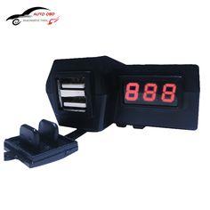 Su geçirmez 12 V Motosiklet ATV Scooter ile LED Dijital Ekran Voltmetre Gerilim Çift USB Priz Şarj Güç Anahtarı