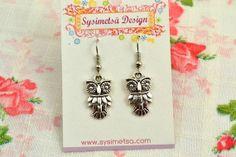 Owl Earrings - Antique Silver Owl Charm Earrings - Owl Pendant Earrings - Nickel Free