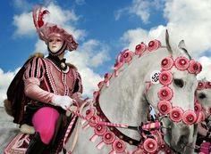 The pink Knight [Sa Sartiglia, Oristano] - Tradizioni Sardegna Carnival Of Venice, Knight Art, Medieval Costume, Venetian Masks, Beautiful Mask, Ancient Art, Pretty In Pink, Identity, Horses
