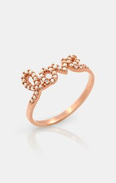 Rose Gold & Simulated Diamond 'Love' Ring