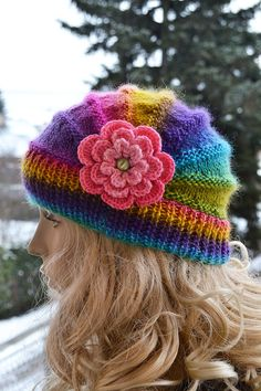 Knitted cap in flower cap / hat lovely warm autumn accessories women clothing Knit Hat Womens from DosiakStyle on Etsy. Knitted Poppies, Knitted Flowers, Knitting Projects, Crochet Projects, Knitting Patterns, Crochet Patterns, Free Knitting, Knit Crochet, Crochet Hats