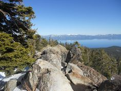 Sierra Mountains - looking at Lake Tahoe from our Snowmobile tour 3-9-12