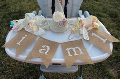 Sage and yellow shabby chic birthday highchair banner & hat Shabby Chic 1st Birthday, Baby Girl 1st Birthday, My Baby Girl, 1st Birthday Parties, Birthday Ideas, Shabby Chic Banners, Birthday Highchair, Vintage Cowgirl, Naming Ceremony