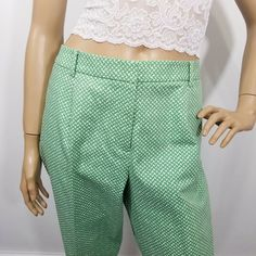 3507d405f7d Talbots Petite Plus Cropped Capri Pants Heritage Green White Geometric 14WP  NWT  Talbots  CaprisCropped