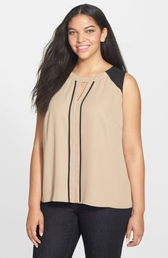 053e1cf3cee Vince Camuto Colorblock Sleeveless Blouse (Plus Size) available at   Nordstrom Plus Size Blouses