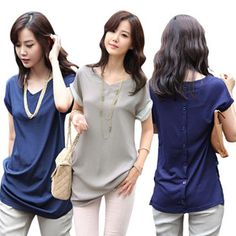 Hot Sale Plus size S-4XL women's large size loose chiffon Blouse&shirt /Tops New 2014 spring and summer New Fashion Lady Tops US $12.99