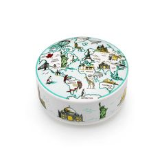 """World Box ($100) - Illustrated with images of the continents and world landmarks including the Taj Mahal, the Golden Gate Bridge and the Sydney Opera House. Box in porcelain. 4"""" diameter."""