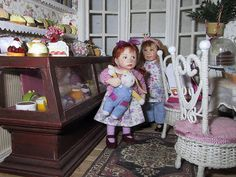 In a bakery teahouse by Nani Kora, via Flickr with 2 Catherine Muniere miniature dollhouse dolls