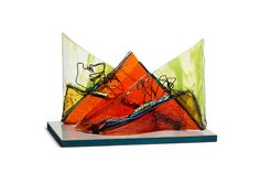 'Mountains at Sunset' Thermofused glass on Stainless Steel by Angela Verlaeckt Clark