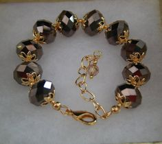 Chocolate Brown Metallic Crystal Tennis Bracelet by Pearlstringer, $15.00