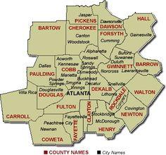 Atlanta Metro County Map Information By County Travel