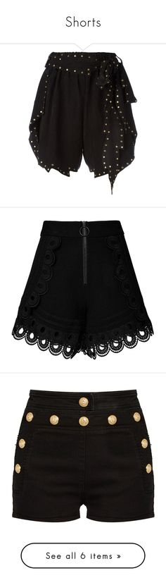 """Shorts"" by clipso-callipso ❤ liked on Polyvore featuring shorts, short shorts, hot short shorts, hot shorts, mini shorts, micro shorts, short, black, highwaist shorts and scalloped shorts"