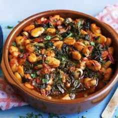 Gigantes With Tomatoes And Greens beans