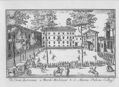 """Palazzo Borromeo e Palazzo Molinari, piazza Borromeo, Milano. Marc'Antonio Dal Re, """"Vedute di Milano"""", incisione 69 (ca. 1745)."""