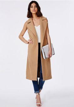 Sleeveless Waterfall Coat Camel - Coats & Jackets - Missguided