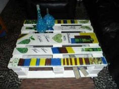 Decoupaged pallet coffee table