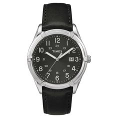 Men's Timex Watch with Leather Strap - Silver/Black TW2P767009J