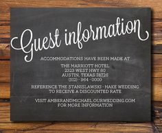 Guest Information from rusticweddingchic.com