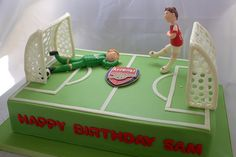 Arsenal Soccer Cake (My Sweet Austin) Soccer Cakes, Football Cakes, Boys Bday Cakes, Cakes For Boys, Soccer Birthday Parties, Soccer Party, Beautiful Cakes, Amazing Cakes, Arsenal Soccer