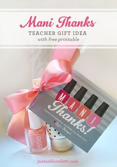 "Teacher Gifts : ""Mani Thanks"" Gift Idea With Free Printable – great idea for teacher appreciation – Teacher Gift Idea – teacher appreciation gifts Cute Teacher Gifts, Cute Gifts, Gifts For Daycare Teachers, Cheap Thank You Gifts For Coworkers, Gifts For Employees, Mentor Teacher Gifts, Teacher Presents, Preschool Teacher Gifts, Easy Diy Gifts"