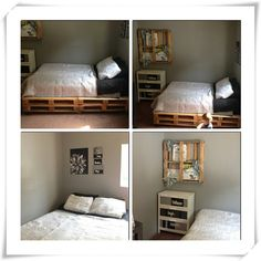 Here is my bed all done! #palletbed #pallets #myroom #blackwhiteandgray #instacollage #Padgram