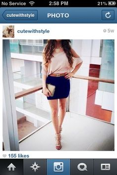 White shirt and blue skirt classy but cute