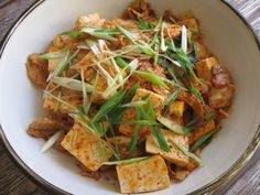 This easy-to-cook and yummy dish has been one of my favourites since I first discovered Kimchi, a staple in Korean cuisine. We Japanese love Kimchi and it is Tofu Dishes, Tasty Dishes, Korean Food, Korean Recipes, Curd Recipe, Stop Eating, Kimchi, Fries, Spicy