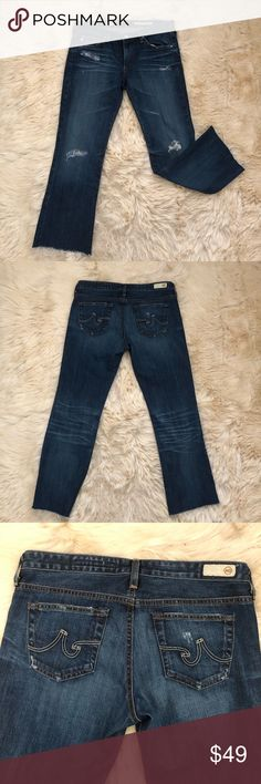 Adriano goldschmied raw hem angel Boot cut  jeans Adriano goldschmied angel Boot cut  distressed jeans size 29R. Perfect used condition. Fabric behind distressed holes Ag Adriano Goldschmied Jeans Ankle & Cropped