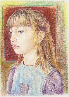 """""""Fata cu parul de grau"""" - creion color."""