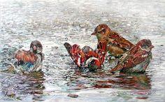A morning water bath for the little birds.    art by maria-zeldis (10)