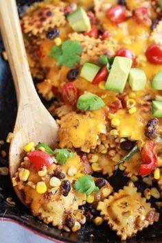 Quick + Easy Southwest Ravioli Skillet Pasta | http://halfbakedharvest.com | pasta dishes, recipes