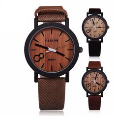 Casual Wooden Color Leather Strap Watch – SoloMio