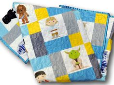 From the divinely good to the downright evil, all of your favorite characters from the entire epic Star Wars series mingle here waiting for you! All 100% handcrafted in a modern blue and gray solid patchwork pattern with gold accents. I designed this quilt top and had it printed as you see it on one seamless piece of minky fabric; it has the look of a traditional patchwork quilt, but the softness and security of a single minky panel. Its the best of both worlds! If youre unfamiliar with…