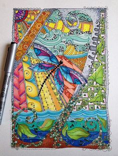 Zentangle Doodle Dragonfly.  Clouds, leaves, water, sun, and of course a dragonfly.  image by chitweed, via Flickr