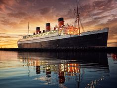 The Queen Mary Hotel is a Historic Site in Long Beach. Plan your road trip to The Queen Mary Hotel in CA with Roadtrippers. Long Beach Hotel, Beach Hotels, Long Beach California, Visit California, Southern California, Queen Mary Hotel, Dark Harbor, Beach Accommodation, Places To Go