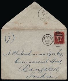 "GB 1898 SG40 Cover Imperial Penny Post FDC 1898 Overseas Mail/Imperial Penny Post. Very fine envelope sent from Baildon, Yorkshire to Bangalore, India bearing a 1d Rose-red (SG40) lettered CH tied by a Baildon ""H92"" duplex for DE.25.1898, the first day of the Imperial Penny Postage rate. Backstamped by a Bangalore arrival cds for JA.15.1899. A remarkably clean and attractive Imperial Penny Post first day cover."
