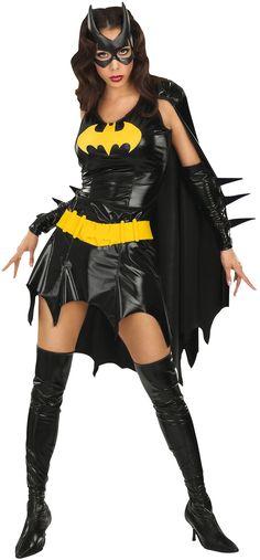 Batgirl™ Kostüm sexy für Damen: Sexy Batgirl™ Deluxe Kostüm für Damen. Das Set besteht aus einem kurzen Kleid im Plastik-Look mit einem Umhang, der an den Schultern befestigt ist, aus sehr hohen...