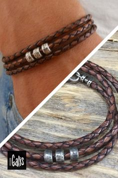 """Looking for a gift for your man? You've found the perfect item for this! The simple and beautiful warp bracelet combines brown leather texture which wrap 3 times on hand and 3 silver plated beads, The bracelet clasp is easy to use and safe. Bracelet comes with 2"""" (5cm) extension chain. #MensJewelry #MensBracelet #GiftIdeas2020 #ChristmasGifts2020 #FriendshipGift #ForHim #BoyfriendGift #LoveGift #GiftforMen"""
