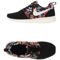 Nike Sneakers ($117) ❤ liked on Polyvore featuring shoes, sneakers, black, black shoes, floral print shoes, floral shoes, black flat shoes and nike footwear