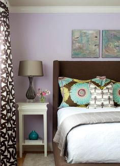 Love the curtains and the nightstand.