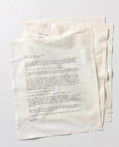 Letterology: Literary Table Napkins.