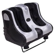 Silver 3in1 Heat Kneading Rolling Leg Calf Ankle Foot Massager #FootMassageMachine