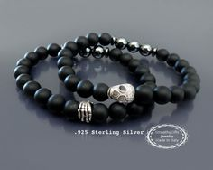 Mens beaded skull bracelet Black onyx bracelet by EmpathyGifts